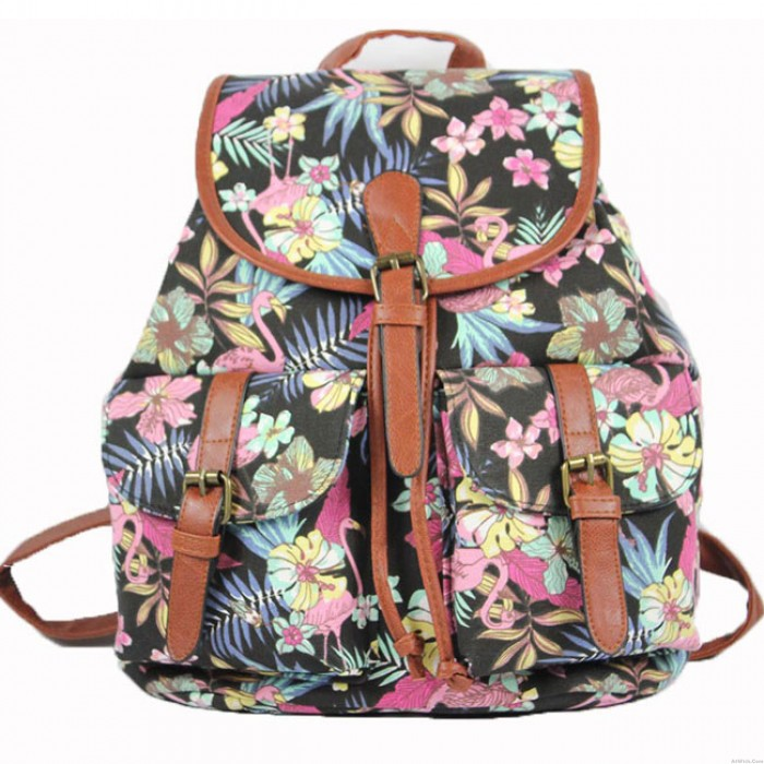 Folk Geometric Patterns Flowers Printing Floral Two Pockets Bucket Leisure Canvas Backpack