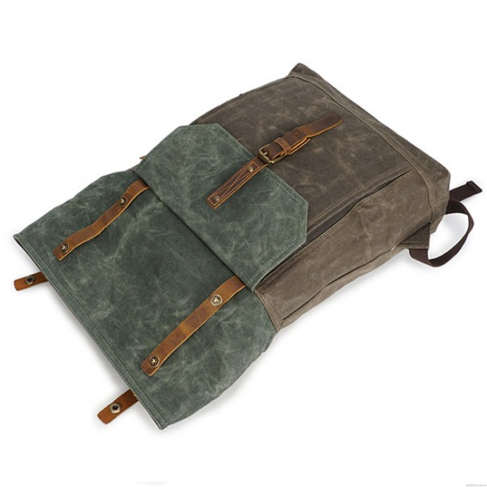 Retro Canvas Buckle Leather Waterproof Square Flap School Backpack Unique Man Large Travel Backpack