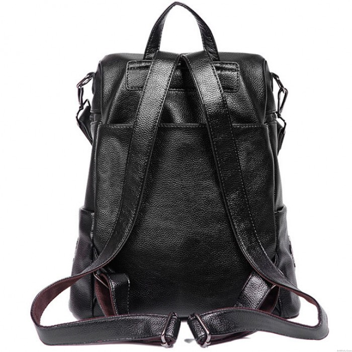 Leisure Girl's PU Square Multifunction Rivets Laptop School Backpack