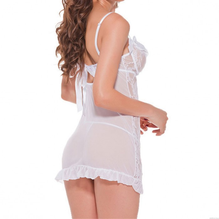 Sexy Mesh See Through Bow Low-cut Slim Silp Dress White Flowers Lace Women's Lingerie