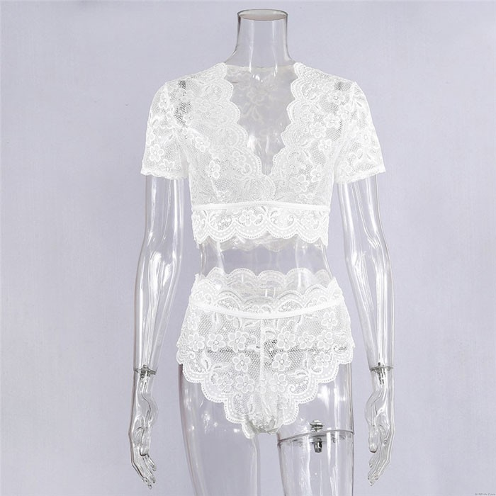 Sexy High Waist Flower Hollow Lace Short Sleeves Intimate Women's Lingerie