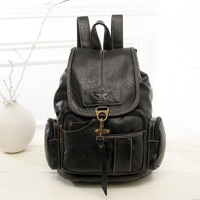 Leisure Single Hook Brown British Style Retro Leather Women's Backpacks