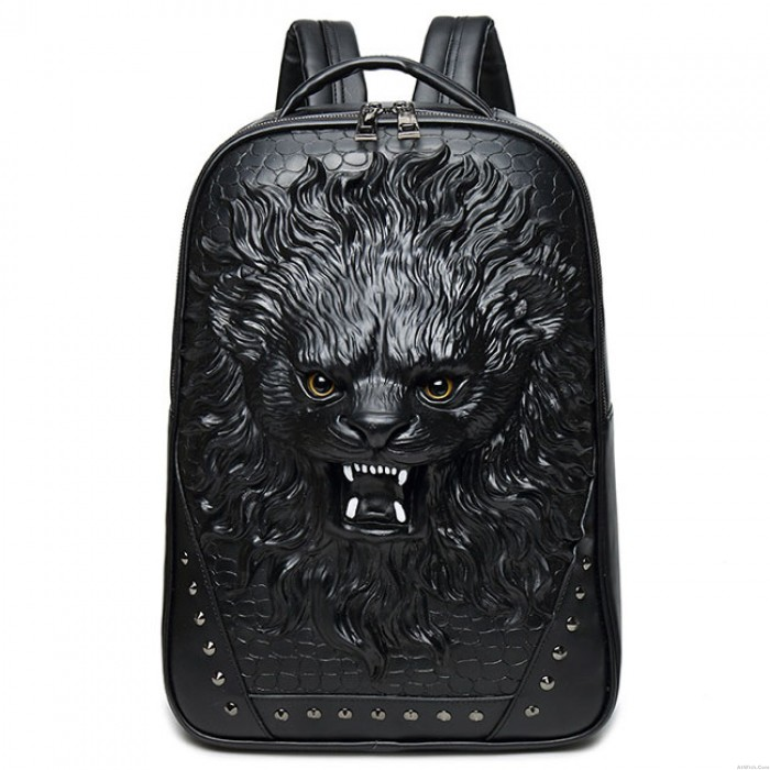 Punk PU Stereo Ferocious 3D Lion Rivets Large Animal Men's Travel Backpacks