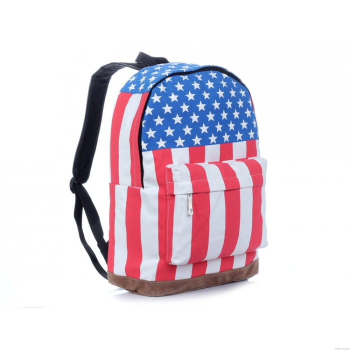 College Style Canvas USA Flag Punk BackPack & School Bag