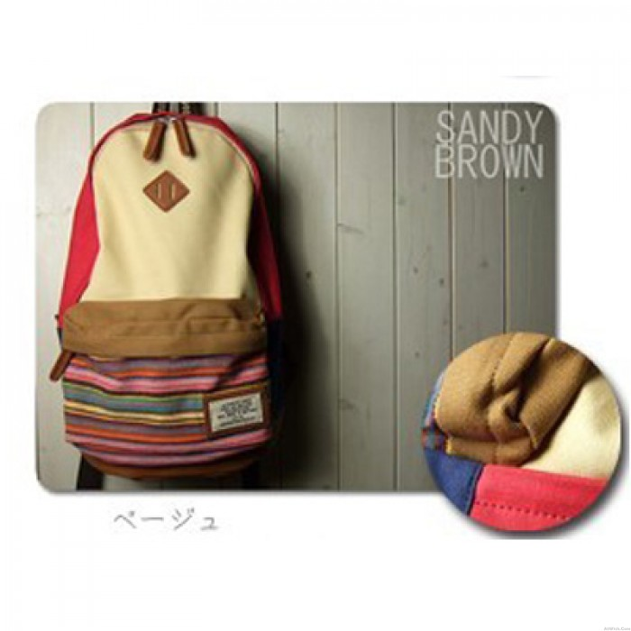 Folk Style Mixing Color Stripe Print Canvas Backpack