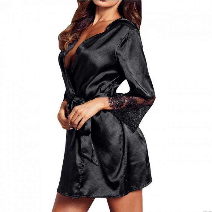 Sexy Lace Night Gown Middle Sleeve Nightdress Pajamas Women Lingerie