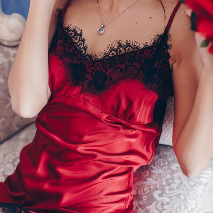 Sexy Red Lace Nightdress Sling Deep V Pajamas Women Intimate Lingerie