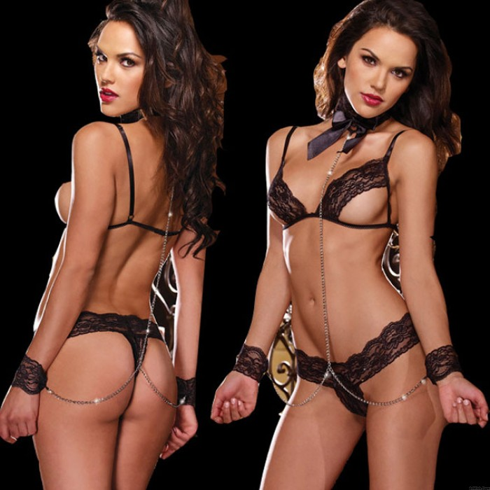 Sexy Lace Perspective Bra Set Temptation Female Prisoner Cosplay Intimate Lingerie