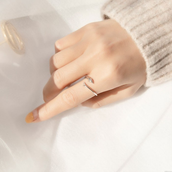 Unique Silver Tail Dolphin Female Open Ring Girl Romantic Gift Ring