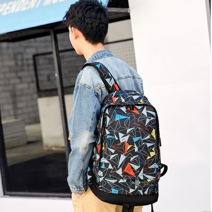 Unique Triangle Print Oxford Male Outdoor Large Capacity Backpack Mountaineering Travel Basketball Bag School Backpack