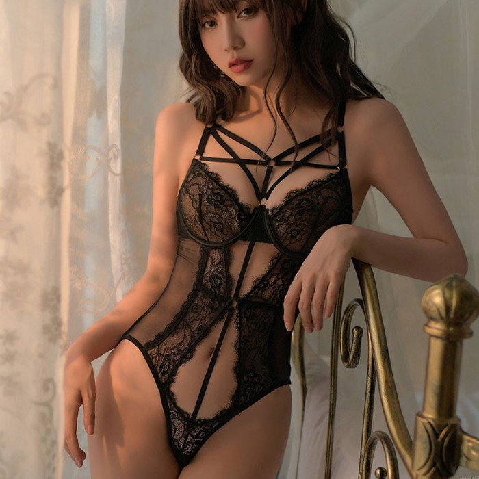 Sexy Deep V See Through Mesh Mini Teddy Lace Cups Bodysuit Strappy One Piece Women's Lingerie