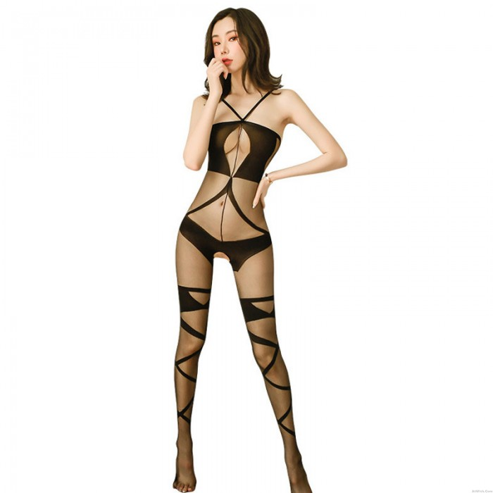 Sexy Teddy See Through Bodystocking Crotchless Sheer Mesh Bodysuit Nightwear Hollow Out Lingerie