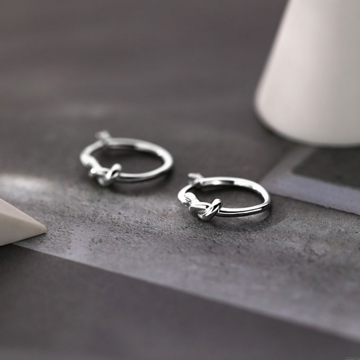 Cute Knotted Ring 925 Silver Tie Earrings Jewelry Gift For Her Dangler Earrings