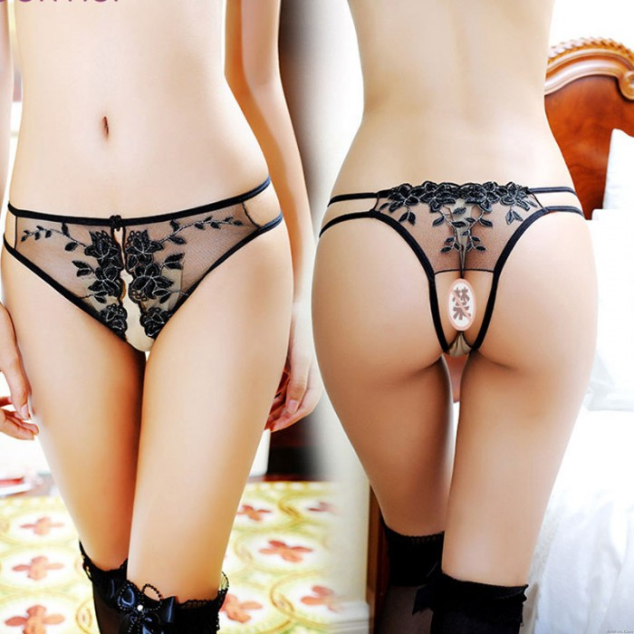 Sexy G-string Thong For Women Underwear Hollow Lace Embroidery Open Crotch Flower Mesh Panties Lingerie