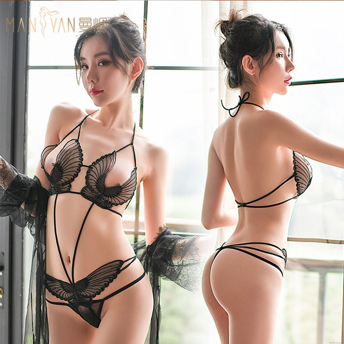 Sexy Hollow Butterfly Panties Lace Angel Wings Style Conjoined Women's Lingerie