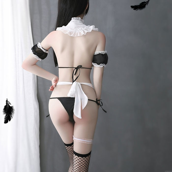 Sexy Maid Cosplay Passion Bow Apron Uniform Temptation Doll Lace Bra Set Cosplay Girl lingerie