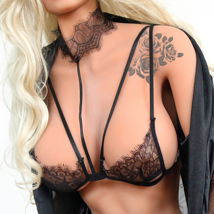 Sexy Black Lace Hollow Camisoles Hanging Neck Bras Women's Lingerie