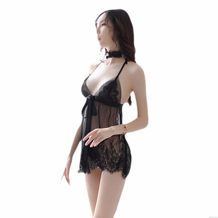 Sexy Lace Pajamas Slit Bow Perspective Mesh Nightdress Sling Women's Lingerie