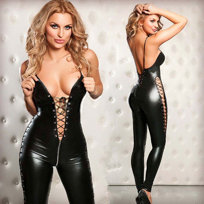 Sexy Wild Zipper Patent Leather Bandage Conjoined Pants Women's Lingerie