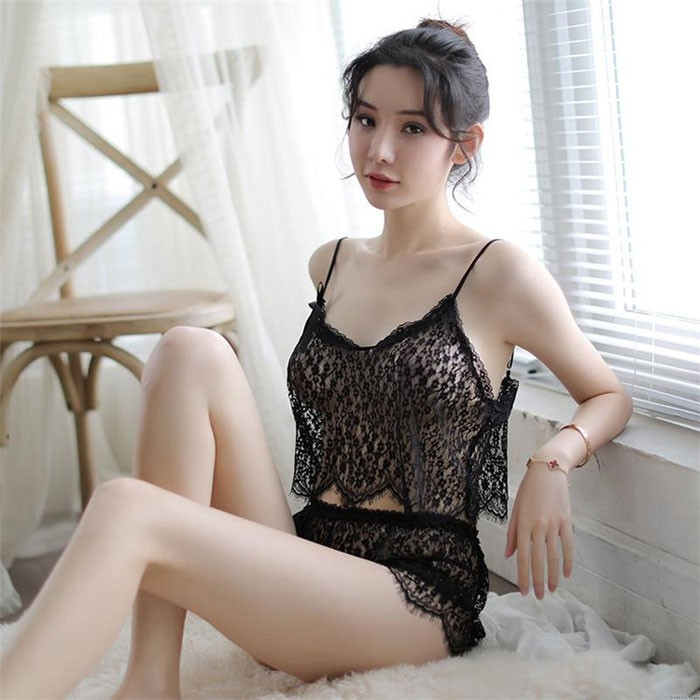 Sexy Lace See-through Hollow Sling Transparent Bra Set Vest Underwear Intimate Lingerie