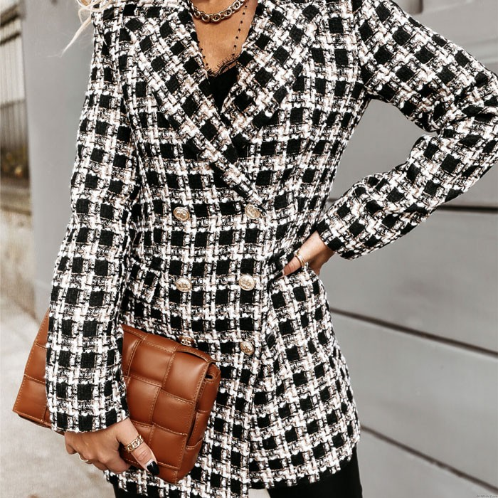 Fashion Jacket For Women Autumn Winter Lattice Woolen Print Lapel Grid Long Women's Coat