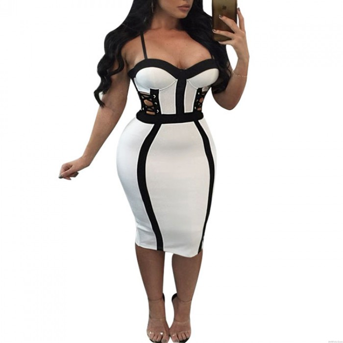 Sexy White Black Color Blocking Splicing Hollowed-out Braces Women's Skirt Dress