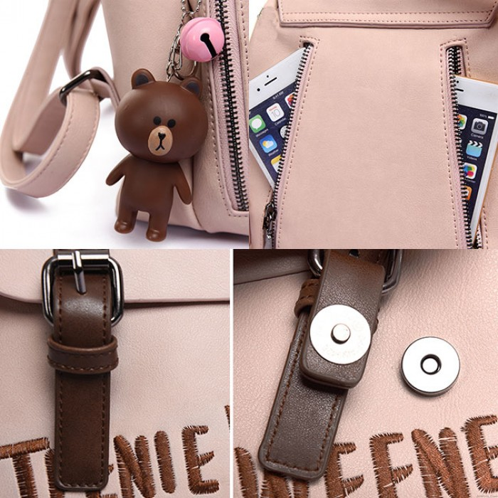 Cute Frosted PU Letters Embroidery Belt Flap Gift Bear Doll Small Lady School Backpacks