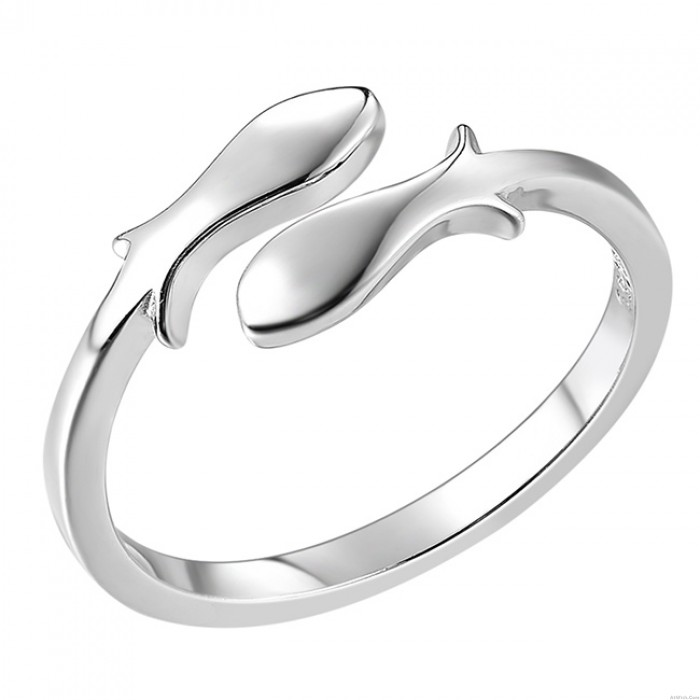 Silver Fishes Finishing Polish Open Constellation Pisces Ring