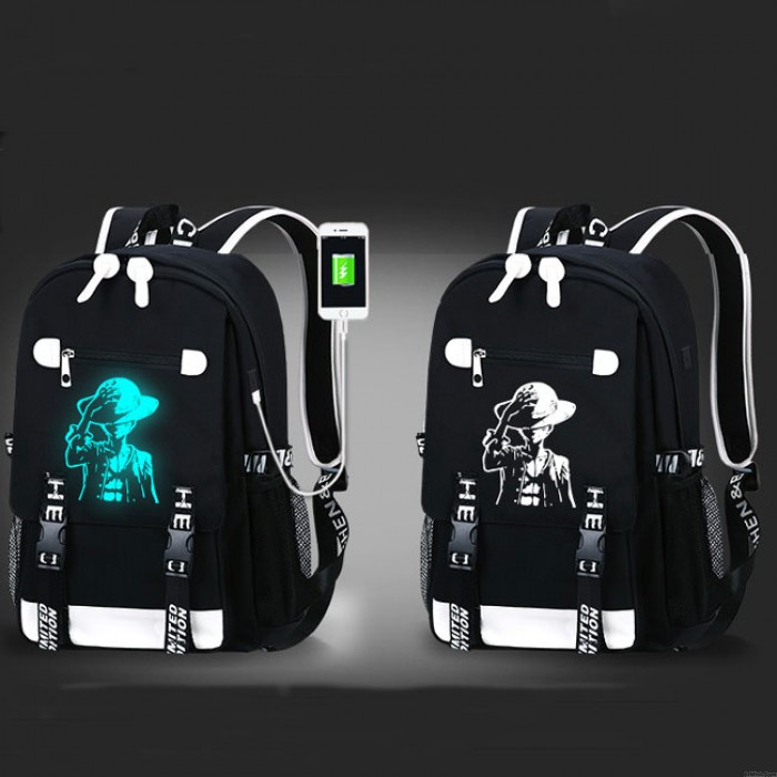 Unique Waterproof Oxford Cloth Luminous Cartoon Printing School Backpack USB Interface Fluorescence Monster Travel Backpack