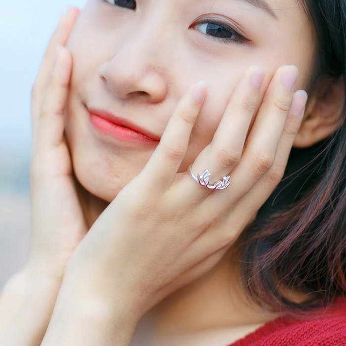 Cute DEER Silver Pure and Plain Hollow Open Ring