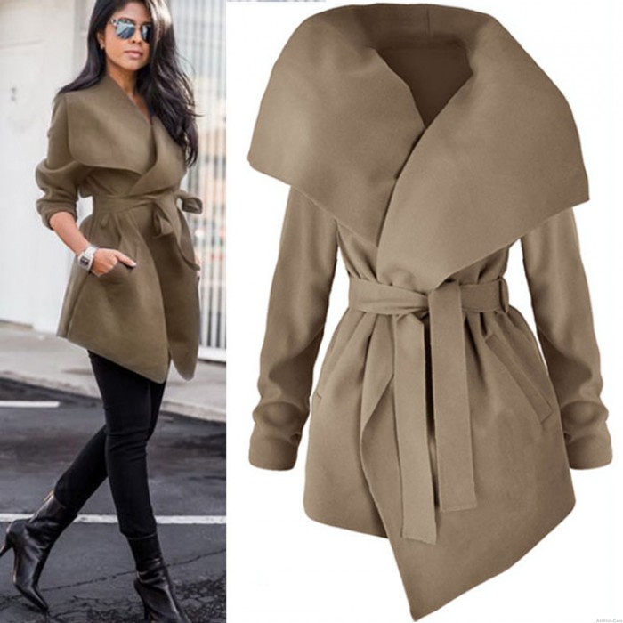 Leisure Large Size Woolen Wide Collar Irregular Long Women's Velvet Coat