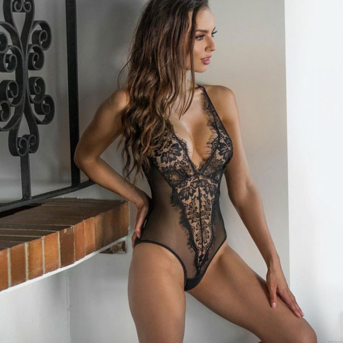 Sexy Black Flower One Piece Lace Perspective Conjoined Women Intimate Lingerie