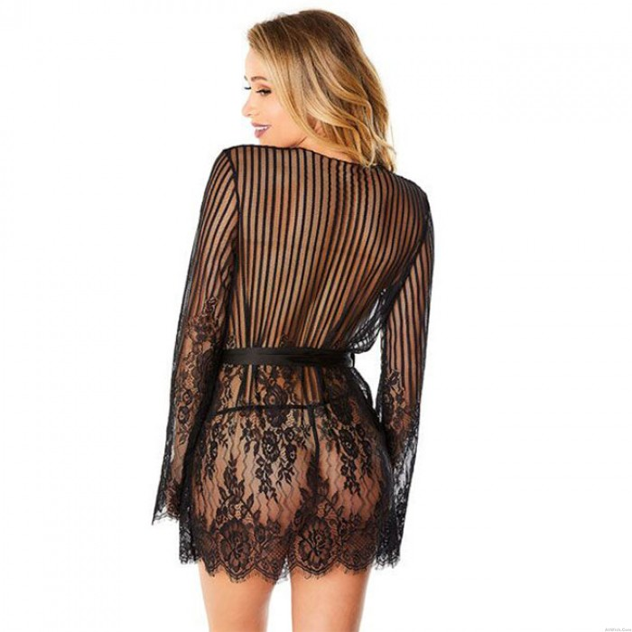 Sexy Flower Nightdress Eyelash Lace Long Sleeves Large Women Intimate Lingerie