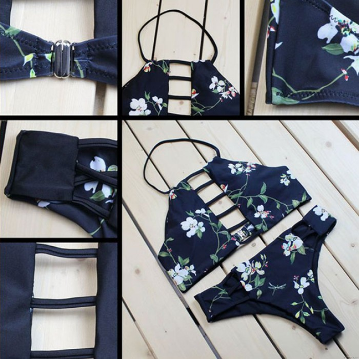 Printing Split Swimsuit Summer Women's Dark Blue Bandage Bikini Set