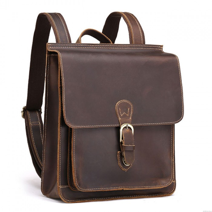 Retro Real Leather British Single Buckle Square Original Handmade Student Backpack