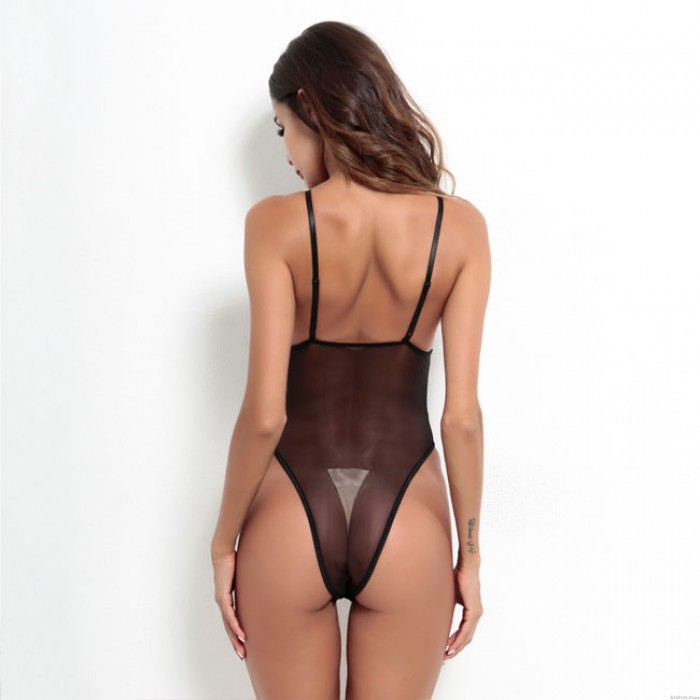 Sexy Black White Hollow Perspective Conjoined Female Intimate Lingerie