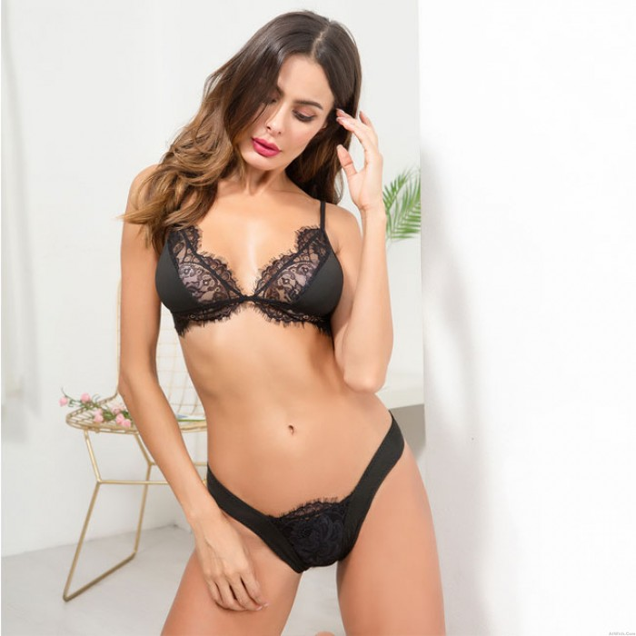 Sexy Black White Lace Hollow Perspective Bra Set Women Sling Intimate Lingerie
