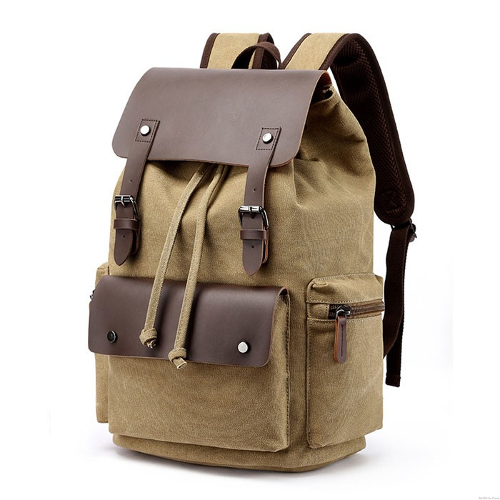 New Double Buckle Leather Rucksack Thick Canvas Large Travel Bag School Backpacks