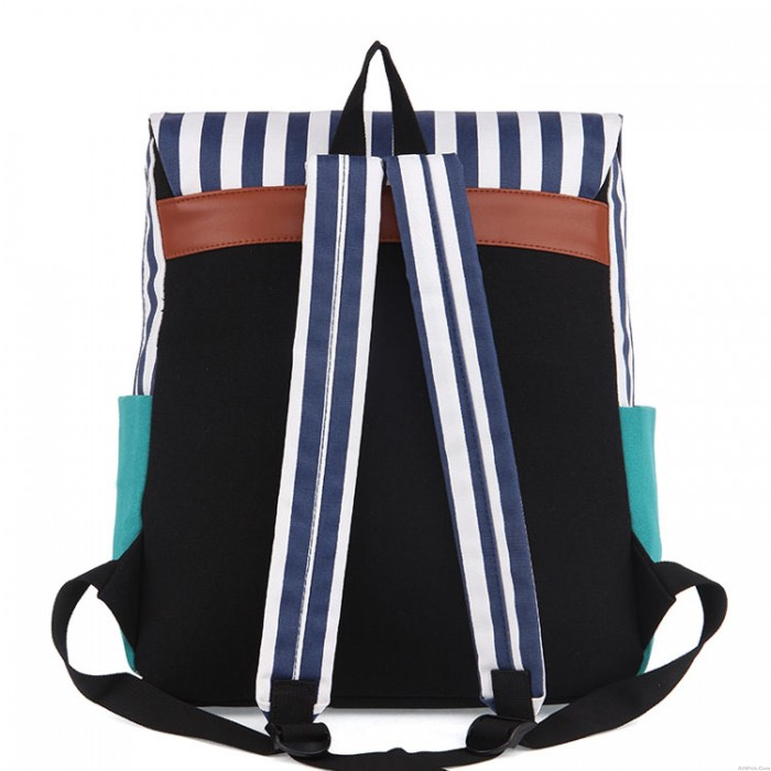 Retro Navy Striped Trunk Practical Backpack