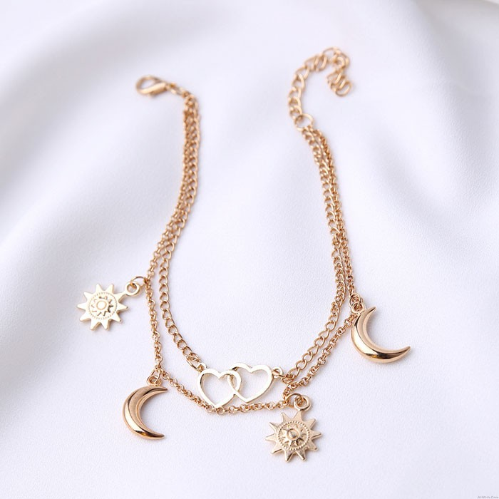 Leisure Sun Love Heart Moon Simple Beach Alloy Chain Two Layer Women's Anklet
