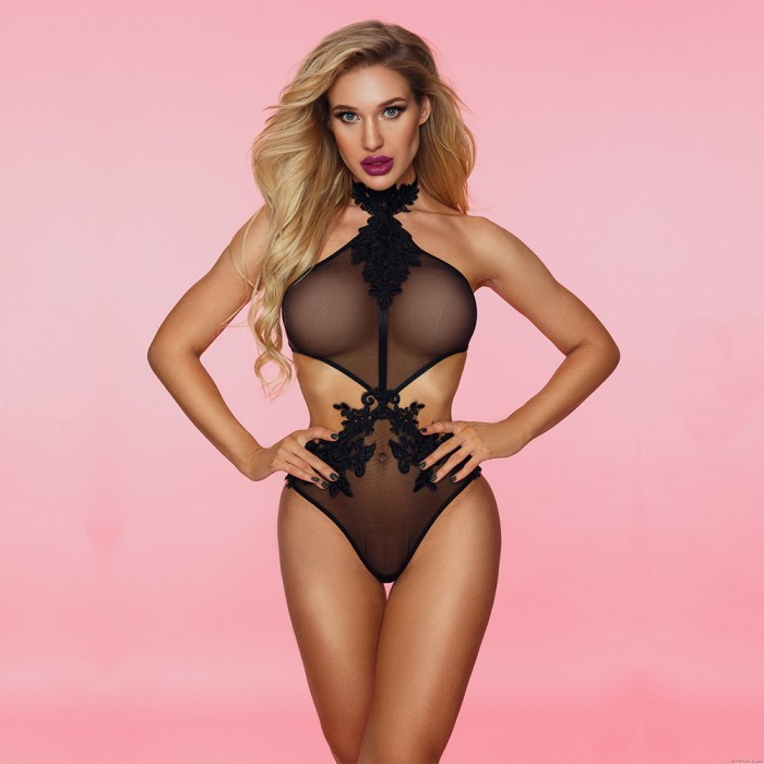Sexy See Through Sheer Mesh Teddy Lingerie Embroidery Floral Halter One Piece Women's Bodysuit Lingerie
