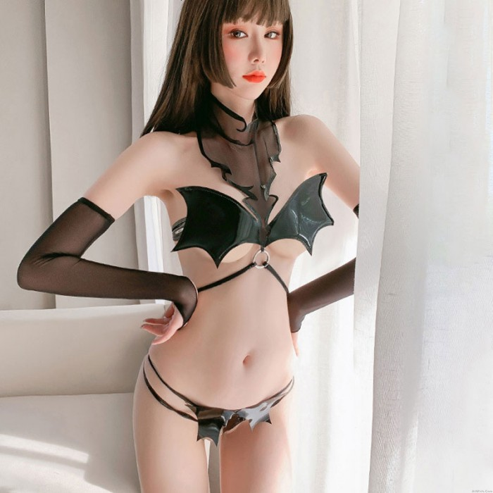 Sexy Batgirl Little Devil Bat Bra Cosplay Costume PU Leather Outfits Strappy Crotchless Underwear Lingerie
