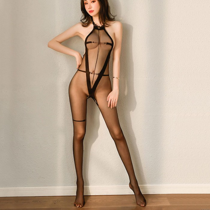 Sexy See Through Hollow Out Bodysuit Crotchless One Piece Lingerie Halter Sheer Mesh Bodystocking