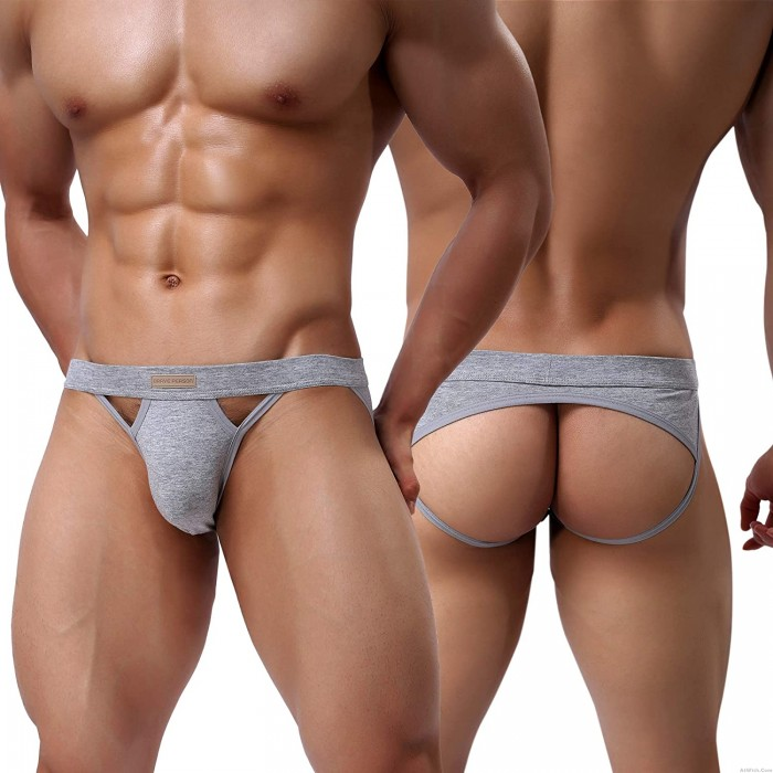 Sexy Men's Cotton Jockstraps Underwear Athletic Supporters Briefs Low Rise Elastic G-Strings Thong