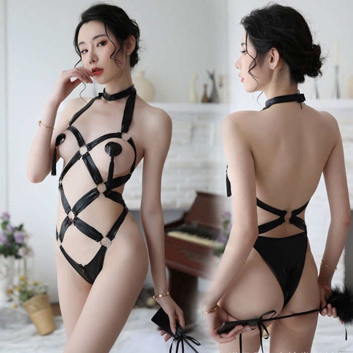 Sexy Iron Ring Tied Up Patent Leather SM Cosplay Temptation Conjoined Lingerie
