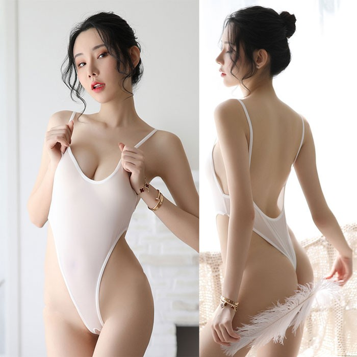 Sexy Thin Transparent Backless Silk Tights Conjoined Women's Lingerie