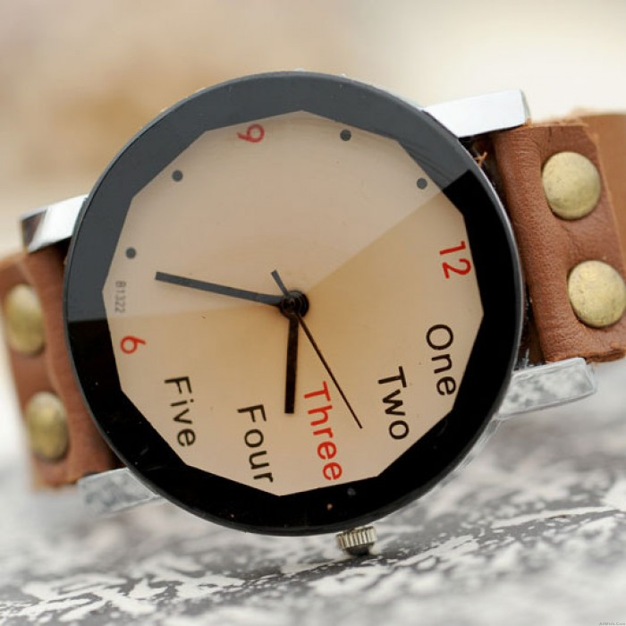 Retro Creative Number Leather Watch