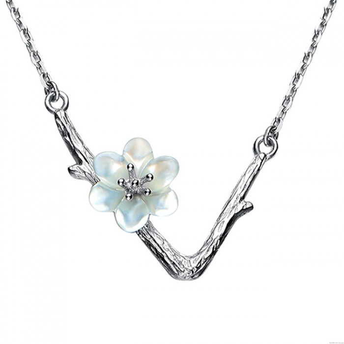 Unique V shape Imitating Branch Lines Shell Flower Pendant Clavicle Women Chain Necklace