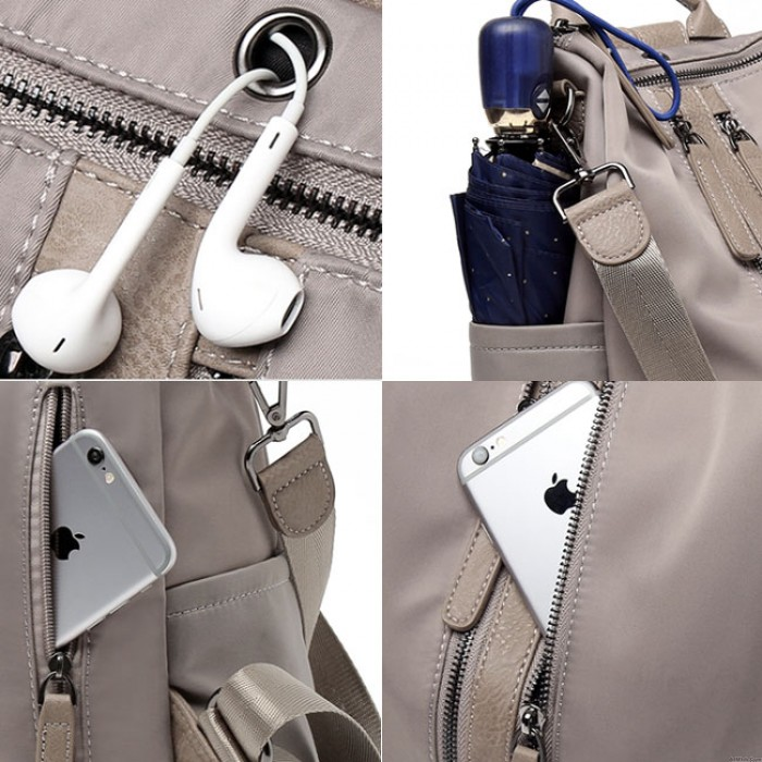 Elegant Waterproof Double Zipper PU Multi-function Handbag Large School Backpack
