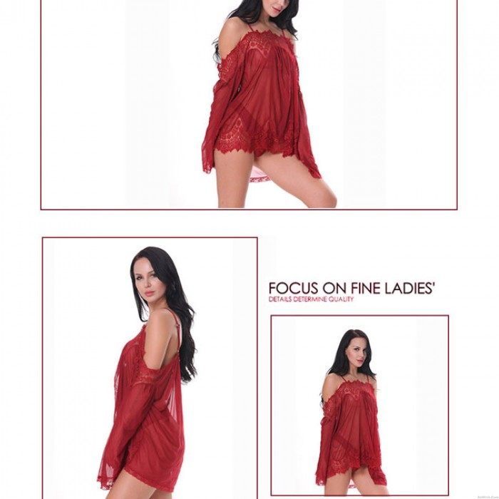 Sexy See Through Lace Loose Long Sleeves Sleepwear Camisole Women's Mesh Dress Lingerie